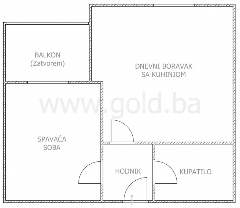 Tlocrt stana od 40 m2